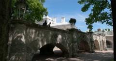 The Cameron Gallery. Bridge to the pavilion. Tsarskoye Selo. Tsar's Village Stock Footage