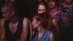 Young people dance, enjoy open air party. Spotlights. Happiness. Cheering. Girl - stock footage