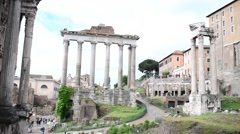 Rome Antique Site Roman Empire Forum Ancient Imposing Columns Temple Of Apollo Stock Footage