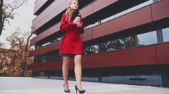 Woman in High Heeled Shoes walking in the city. Steadicam Stabilized shot 4K. Stock Footage