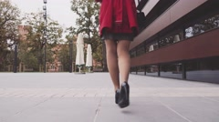 Woman legs in black heeled shoes walking in the city. Stabilized shot 4K Stock Footage