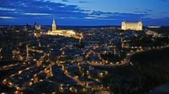 Toledo Cityscape with Alcazar at dusk, Spain. Time lapse Stock Footage