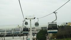 Ropeway near Vasco da Gama Tower in Lisbon Stock Footage