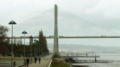 Vasco da Gama Bridge in Lisbon, Portugal Stock Footage