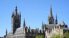 Cloth Hall, belfry and Saint Martin's Cathedral at Ypres, Flanders, Belgium - stock footage
