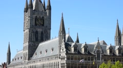 Cloth Hall, belfry and Saint Martin's Cathedral at Ypres, Flanders, Belgium Stock Footage