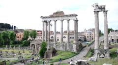 Rome Antique Site Roman Empire Forum Ancient Imposing Columns Temple Of Apollo - stock footage