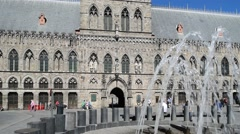 The Cloth Hall housing the In Flanders Fields Museum, Ypres, Belgium Stock Footage