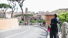 Rome Antique Site Forum Ancient Columns turists make photo Mobile phone selfie - stock footage