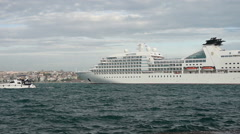 Big Passenger Cruise liner, passenger ship departing from Istanbul Stock Footage