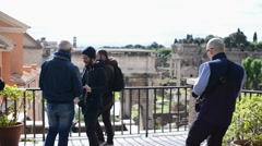 Rome Antique Site Forum Ancient Columns turists make photo Mobile phone selfie - stock footage