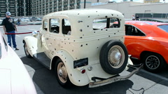Bonnie and Clyde damaged cinema car, Viva Las Vegas Car Show 2016, USA. Stock Footage