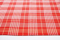 red and white checkered table cloth - stock photo