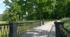Catherine Park. The bridge with a cast-iron fence. Tsarskoye Selo. Stock Footage