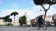 Rome Antique Site Forum Ancient Columns turists riding bicycles Stock Footage