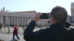 Rome Tourist take a photo picture of Vatican - Residence of the Pope - stock footage