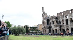 Coliseum, Colosseo, Rome antique in spring cloudy day - stock footage