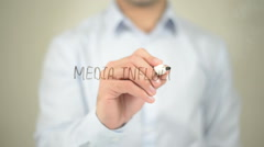 Media Influnce , man writing on transparent screen Stock Footage