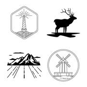 Windmill and lighthouse emblems, deer silhouette, mountain, nature exploration Stock Illustration