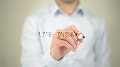 Life Insurance , man writing on transparent screen - stock footage