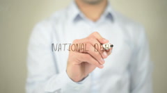 National Debt , man writing on transparent screen - stock footage