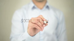 Social Security , man writing on transparent screen Stock Footage