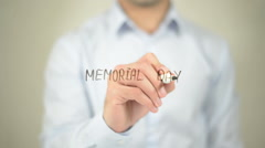 Memorial Day , man writing on transparent screen Stock Footage