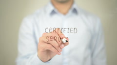 Certified Service , man writing on transparent screen Stock Footage