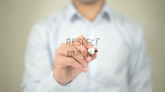 Respect Yourself , man writing on transparent screen Stock Footage