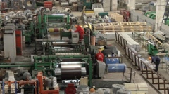 Top view on a workshop of a metal factory Stock Footage