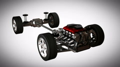 Car chassis with engine. alpha matted Stock Footage