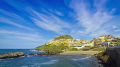 Colorful houses of Medieval town Castelsardo, Sardinia island, Italy Stock Footage