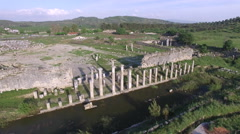 Aerial 4K Clip of Historical Ruins Captured by Drone Cam. Izmir, Turkey Stock Footage