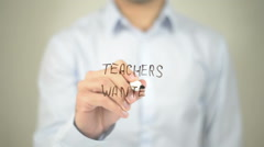 Teachers Wanted , man writing on transparent screen Stock Footage