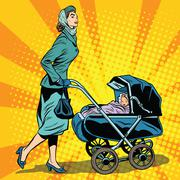 mom and stroller with baby - stock illustration