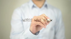 Words Have Power, man writing on transparent screen Stock Footage