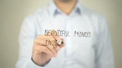 Beatiful Minds Inspire Others , man writing on transparent screen - stock footage