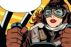 Girl retro pilot on the plane Stock Illustration