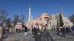 Istanbul most visited monument, Hagia Sophia Mosque, tourists, time lapse Stock Footage