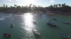 Boats in Praia do Forte beach in Bahia, Brazil Stock Footage