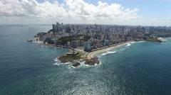 Bahia Coast and Farol da Barra Light House in Salvador, Bahia, Brazil Stock Footage