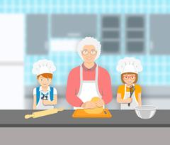 Grandmother and kids bake together at a kitchen - stock illustration