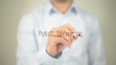Public Speaking , man writing on transparent screen Stock Footage