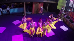 Dancing show in the bar, aerial view Stock Footage