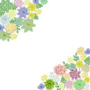 Succulent garden border card design - stock illustration