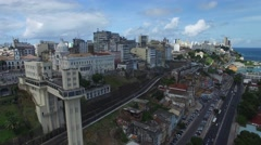 Aerial view of Lacerda Lift in Salvador, Bahia, Brazil Stock Footage