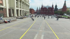 Tourists and citizens walking in the Moscow Kremlin Stock Footage
