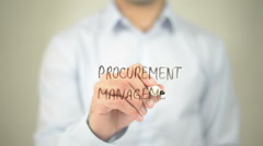 Procurement Management  , man writing on transparent screen Stock Footage