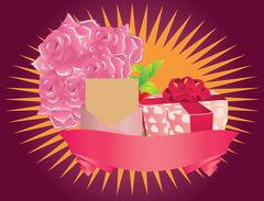 Gift box and roses - stock illustration