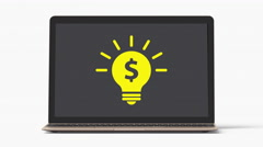 4k - Laptop with money light bulb idea Stock Footage